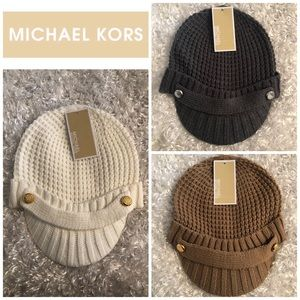 Michael Kors Cable Knit Newsboy Hat